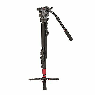 New Kenro Professional Video Monopod Kit with Fluid Head and Case - KENVT101