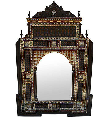 Unique Handmade Moroccan Middle Eastern Mother of Pearl Wood Wall Mirror Frame