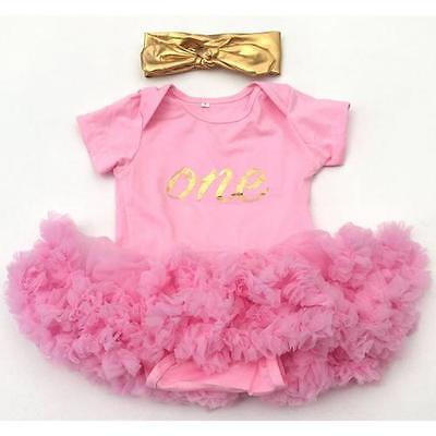 Girls First 1st Birthday Tutu Romper Pink Dress Cake Smash Outfit GOLD headband