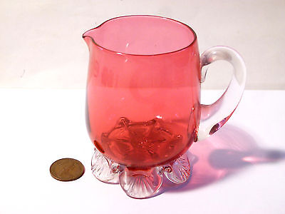 Lovely Antique Cranberry Ruby Glass Jug on Scallop Feet Base, Milk / Cream Jug