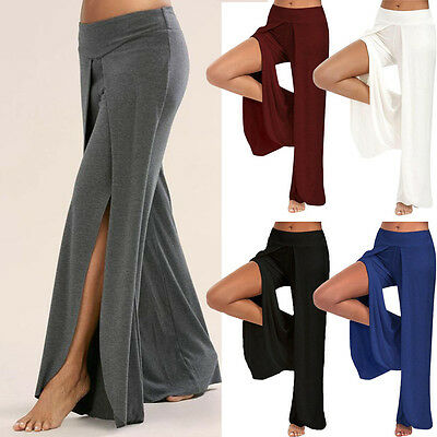 New Womens Ladies Split Wide Leg Pants Summer Elastic Loose Long Pants Trousers