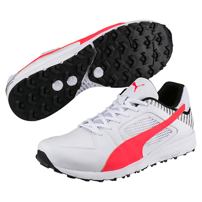 2017 Puma Team Rubber Sole White Coral Cricket Shoes Sizes UK 8 9 10 11 12