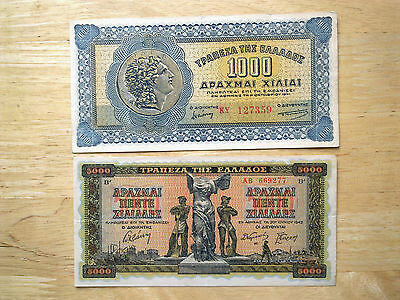 2 X Greece Banknotes  1000 - 5000 Drachma  Dated 1941-42