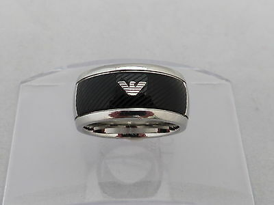 Emporio Armani Mens Ring Stainless Steel With Logo Size - U  Genuine