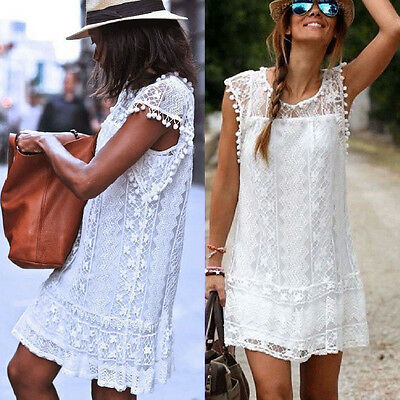 Women Summer Casual Sleeveless Party Evening Cocktail Lace Short Mini Dress