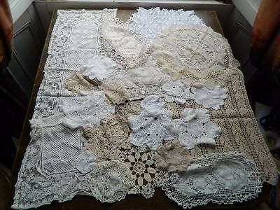 Vintage collection 20 lace doilies mats runner - white / cream /ecru