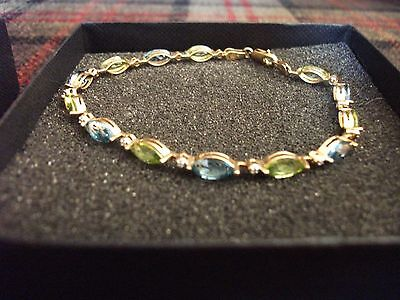 Pretty Dainty 10ct Gold, Topaz, Peridot & Diamond Accent Bracelet, 7.5""