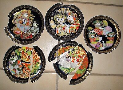5 broken PLATES ROSENTHAL WIINBLAD for Mosaic Tile Jewelry Art Craft Supplies