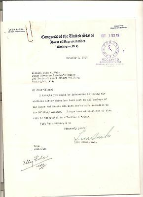 Original signed letter, congressman Leon Sachs, Pennsylvania to JAG's office