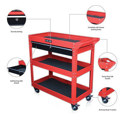 321 Us Pro Tools Mobile Tool Cart Trolley Workstaion Box Black Red 1 Drawer