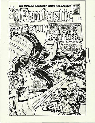 Fantastic Four #52 Rejected Jack Kirby Cover Art Repro - 1St App Black Panther!