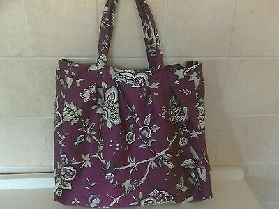 handmade knitting  / sewing  or craft bag - damson with flowers