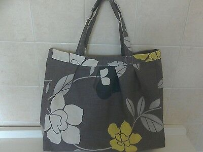 handmade knitting  / sewing  or craft bag - coffee with flowers