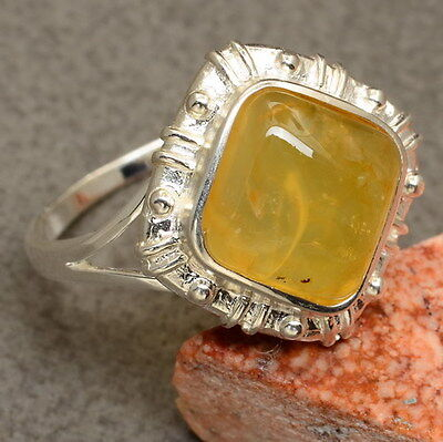 Natural Yellow Chalcedony Gemstone 100% Solid 925 Sterling Silver Sz 10 Ring