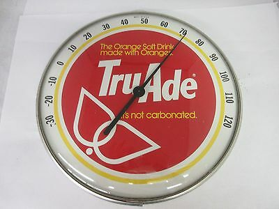Advertising Vintage Tru Ade Round Glass Cover   Thermometer Sign  M-551