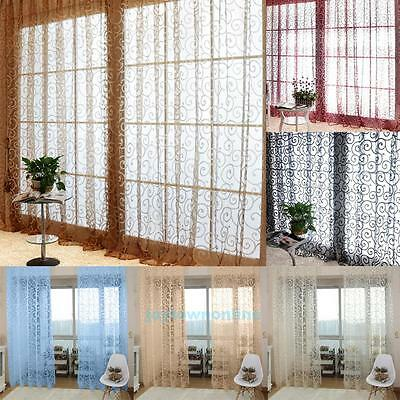 1X2M Floral Print Tulle Voile Curtain Drape Panel Sheer Scarf Room Door Window