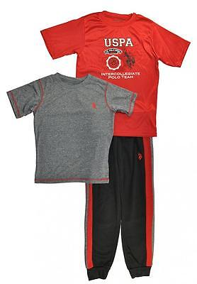 US Polo Assn Boys Red Top 3pc Sweat Pant Set Size 2T 3T 4T 4 5/6 7