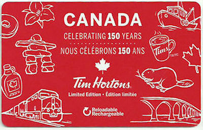 KS1) Limited Edition Canada 150. Tim Hortons collectible gift card - Unused