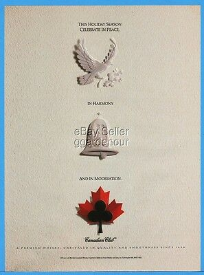 1992 Canadian Club Whisky Holiday Peace Dove Harmony Bell MODERATION Print Ad