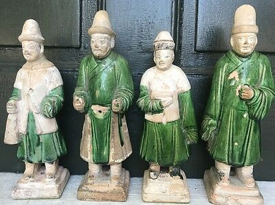 LOT of 4 Chinese Ming Dynasty Terra-Cotta Tomb Attendant Figures (1368–1644 AD)