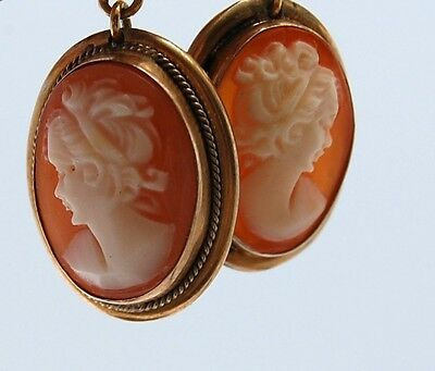 Vtg 800 Silver Gilt Cameo Pierced Drop Earrings Carved Conch Shell Italy