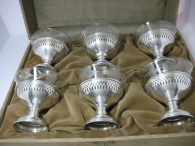 Antique Sterling Silver and Etched Glass Sherbet  Dessert Cup set of 6 boxed