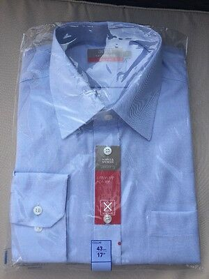 """BNIP Marks And spencer Tailoring Non Iron SHIRT 17"""" 43cm Collar M&S BNWT"""
