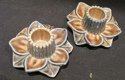 Wade Pottery Pair Floral Candle Holders Brown & Blue Vintage Made in England