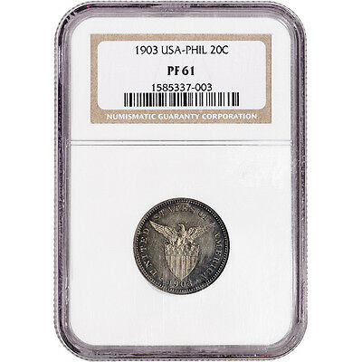 1903 USA Philippine Silver 20 Centavos Proof - NGC PF61