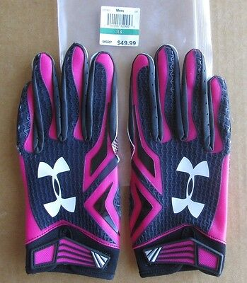 Under Armour Nfl Equipment Swarm Football Gloves Bca Pink/black Size Large