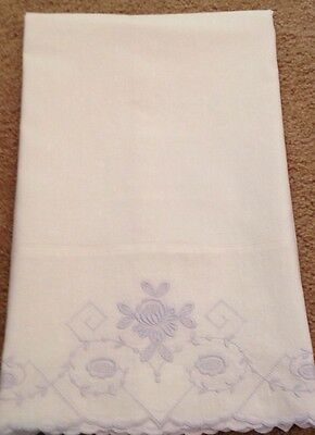 Antique Vintage Fine White Cotton  Pillowcase Blue Embroidery