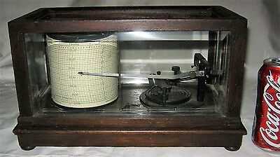 Antique Usa Wood & Glass Taylor Cycle Stormograph Barograph Recording Barometer