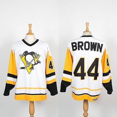 Rare Vintage Pittsburgh Penguins Ccm Nhl Ice Hockey Jersey #44 Brown Usa Made Xl