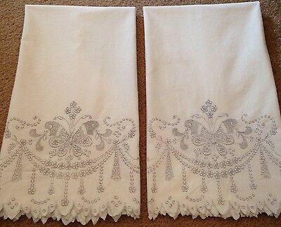 Antique Pillowcase Pair Delicate Embroidered Art Deco Butterflies MADEIRA?