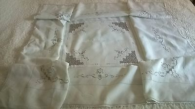 Vintage Hand Embroidery, Lace, And Cut Work Tablecloth