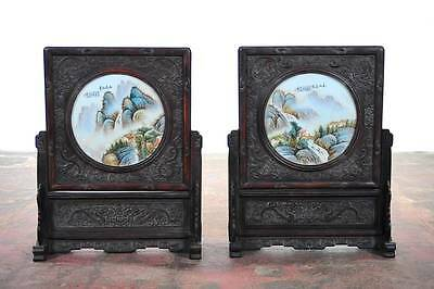 Chinese Antique pair of Circular Porcelain Hand Painted Panels w/wooden stands