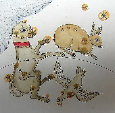 1830 Rockstroeh - THE GREAT DOG DOVE - handcolored CELESTIAL Astronomy CHART