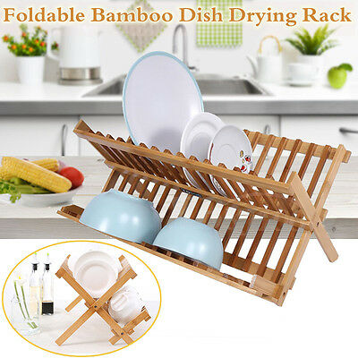 Bamboo Draining Rack Dish Drainer Plate Wooden Folding Washing Up Counter Sink A