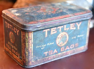 "VINTAGE ANTIQUE TETLEY TEA BOX TIN ORANGE PEKOE ELEPHANT GRAPHIC 6""W x 3"" H"