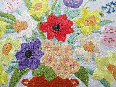 Vintage Hand Embroidery-Vase Of Colourful Flowers-Beautiful