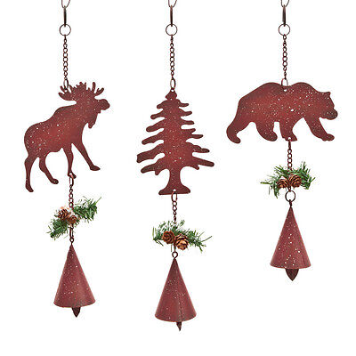 Metal MOOSE BEAR PINE TREE with Bells Woodland Set of 3 Christmas Ornaments NEW