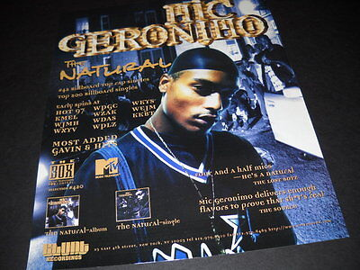 MIC GERONIMO The NATURAL gets 4 and a half mics 1995 PROMO POSTER AD mint cond