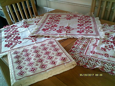 Collection Of Vintage Hand Embroidered Cross Stitch Table Mats And Cushion Bag