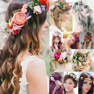 Women Beach Wedding Flower Hair Garland CrownHeadband Floral Wreath Hairband Lot