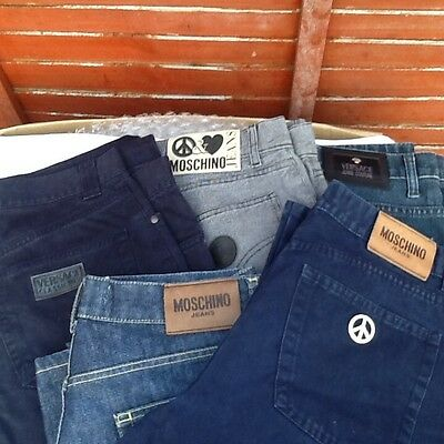 Small selection of 5 pairs of Versace and Moschino  jeans