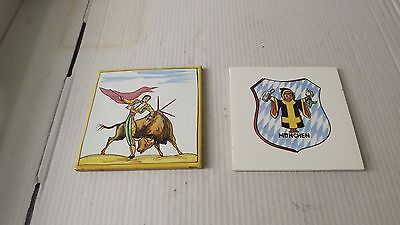 """2 vintage hand painted ceramic tiles """"Muchen child""""&""""Matador"""" with fighting bull"""