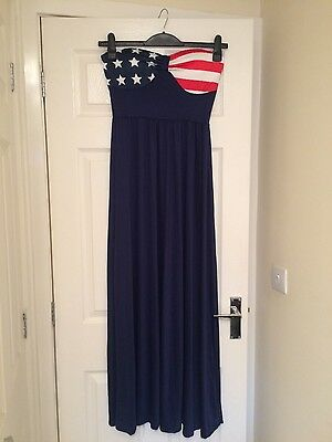 **GORGEOUS** Long Summer American Flag Print Strapless Dress (Size Small) *NEW*