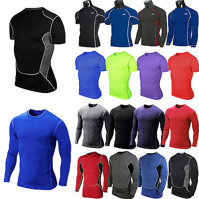 Men Compression T Shirt Body Gym Fit Base Under Thermal Tights Layer Jersey Tops
