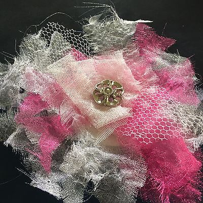 "White Pink Organza 5"" Flower Petal Brooch Dress Hat Wedding Or Special Occassion"