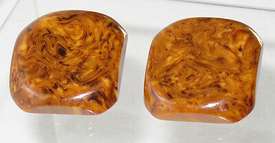 Vintage Bakelite clip on Earrings large square chocolate sundae marble